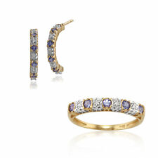 Gemondo 9ct Yellow Gold Tanzanite & Diamond Half Hoop Earring & Ring Set