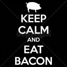 Sleeveless Denim Vest Keep Calm And Eat Bacon Food Breakfast BLT Pork Eggs Fat