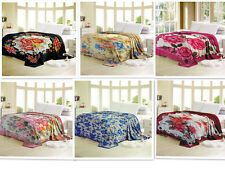 All For You Soft  Plush Mink Bed Blanket, Bed throw with floral prints-FQ/K size