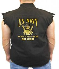 US Navy Denim Vest My Job Is To Protect Your Ass Not Kiss It Seal Biker Wear