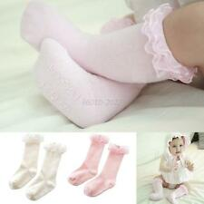 Lovely Toddler Girl Cotton Sock Lace Knee High Length Sock Baby Stockings 0-1Y