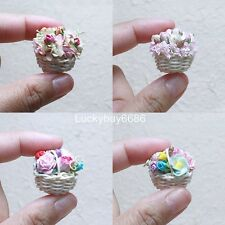 Mixed Flowers in Mini Basket Mulberry Paper Craft Decorate Dollhouse Handmade