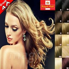 "UK Stock Clip in 100% Remy Human Hair Extensions Full Head 18""20""20""22""120G U639"