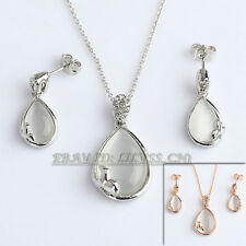A1-S109 Fashion Simulated Opal Necklace Earrings Jewelry Set 18KGP Crystal