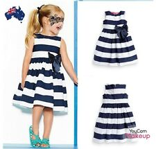 Cute Striped Navy Bow Baby Girl Toddler Summer Cool Sleeveless Cotton Dress Top