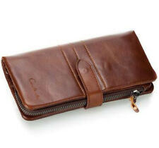 New Genuine Leather Men's Card Holder Check Clutch Purse Secretary Long Wallet