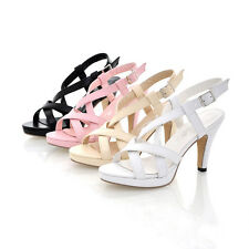 AU All Size New Peep Toe Thick High Heel Strap Buckle Lady's Sandals Shoes s114