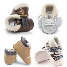 Winter Baby Boy Girl Warm Stripes Boots Lace Up Booties High Boots Prewalker