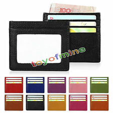 Genuine Leather RFID Blocking ID Window Credit Card Wallet Holder Slim Case