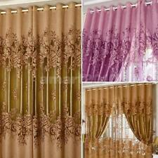 250cm*100cm Peony Flower Voile Curtain Window Balcony Tulle Sheer Drapes 4 Color