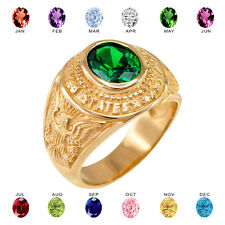 Solid 14k Yellow Gold US Army Men's CZ Birthstone Ring