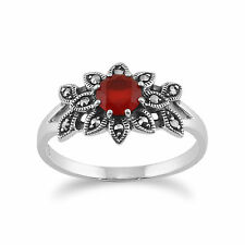 925 Sterling Silver Floral Art Deco Carnelian & Marcasite Ring