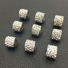 8mm Czech Crystal Silver Big Hole Rhinestone Beads Fit European Charms Bracelets