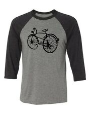 Bicycle T-shirt-Mountain Bike Tshirt, Road Bike t-shirt-Black Bike-Baseball tee