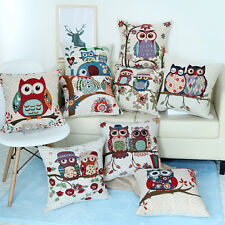 Home Decor Owl Family Cushion Cover Throw Sofa Pillow Case Cotton Linen Gift Hot