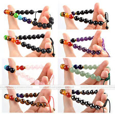 8-10mm Fashion 7 Chakra Gems Lava Rock Magnetic Beads Braid Adjustable Bracelet