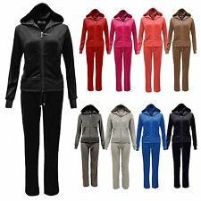 Ladies Velour Full Set Tracksuit Joggers Zip Hoodie Gym Lounge Plus Size 16-22