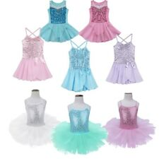 Girl Kids Ballet Dance Dress Leotard Sequined Tutu Skirt Party Dancewear Costume