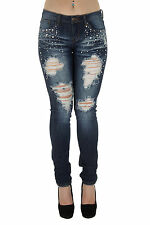 1A4998JS - Women's Juniors Low Rise Distressed Embellished Premium Skinny Jeans