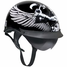 Outlaw T72 Viking Gloss Black Drop Smoke Visor Motorcycle Skull Cap Half Helmet
