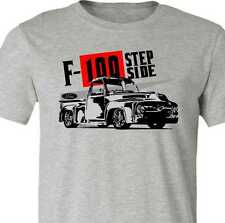 Classic Ford Truck T-Shirt-1956 Vintage Ford F100-Stepside pickup truck-Grey tee