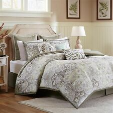 Luxury Taupe Pale Yellow Comforter Bed Skirt AND Pillow Shams
