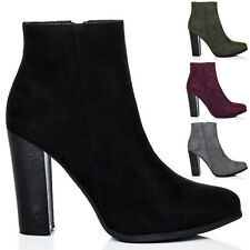 Womens Block Heel Ankle Boots Shoes Sz 3-8