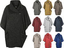 Womens Cowl Neck Button Open Pocket Sleeve Cape Cardigan Jacket Ladies Poncho