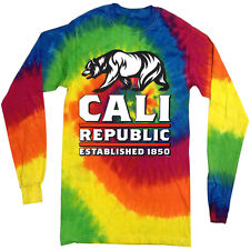 California tie dye shirt for men cali bear california flag tie dyed tee shirt