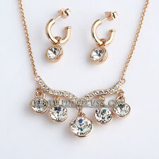 A1-S180 Fashion Choker Necklace Earrings Jewelry Set 18KGP Crystal Rhinestone