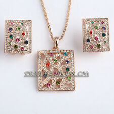 Fashion Tag Colorful Necklace Earrings Jewelry Set 18KGP Rhinestone Crystal