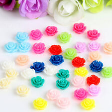 10PCS Vintage Flatbacks Cabochon Rose Flower Resin Lucite Cameo 10MM QW