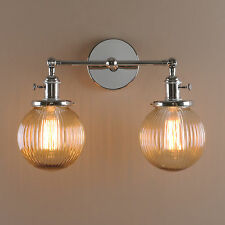 """5.9"""" Fringe Globe Amber Glass Retro Industrial Double Arm Lamp Sconce Wall Light"""