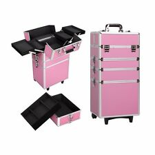 Pro 4 in1 Aluminum Rolling Makeup Cosmetic Train Case Wheeled Box Organizer