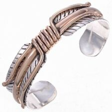 Navajo traditional design Sterling & 12K Gold Fill Bracelet Feather Cuff SIGNED