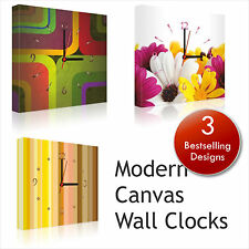"""Wall Clock 12"""" Modern Kitchen Office design Bedroom Canvas 30cm Picture Frames"""