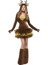 Adult Sexy Fever Christmas Rudolf Reindeer Ladies Fancy Dress Xmas Party Costume