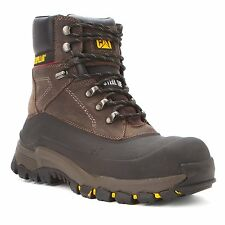"Caterpillar FLEXSHELL WP TX ST 10"" WPF S/T Mens Black Coffee Steel Toe Boots"