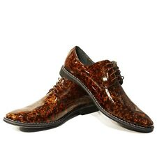 Modello Lorenzo - Handmade Colorful Italian Leather Oxford Dress Shoes Brown