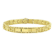 8mm 14k Yellow Gold Plated Chunky Nugget Textured ID Link  Bracelet