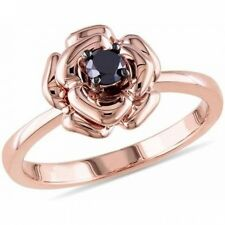1/4 Carat T.W. Black Diamond Pink Rhodium-Plated Sterling Silver Flower Ring. Sh