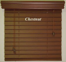"""2""""  Faux Wood  Blinds ~ Size ~ 17.5"""" W x 48"""" L ~ Stain Colors ~ Real Grain Look"""