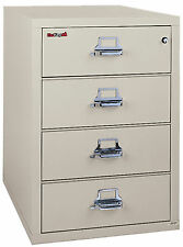 Ivory White 4 Drawer UL Class 350 1 hr fireproof Check & Note Filing Cabinet