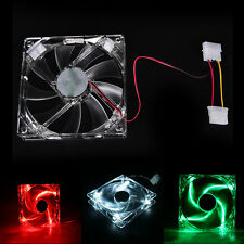 Quad 4-LED Light Neon Clear 120mm PC Computer Case Cooling Fan Popular QW