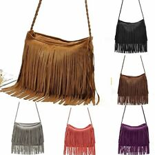 Women Fashion Leather Tassel Fringe Cross Body Shoulder Handbag Messenger Bag