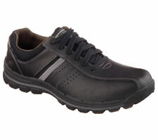 64529 BLK Black Skechers Shoes New Men Casual Leather Comfort Memory Foam oxford