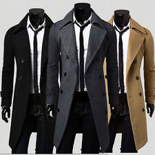 2017 Winter Mens Slim Stylish Trench Coat Thick Double Breasted Long Jacket US