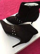 New Womens zipped studded black ankle suede boots UK sizes 4 5 6 6 1/2 7 1/2