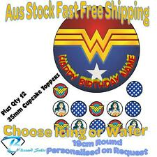 Wonder Woman DC 19cm Cake + 35mm Cupcake Toppers Edible Icing or Wafer Precut