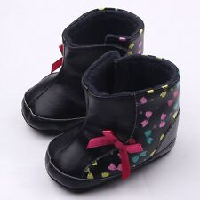 Infant Baby girl boy Warm Snow Bootie Soft Leather Bowknot Velcro Boots PU Shoes
